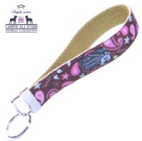 WRISTLET KEYCHAIN - PINK AND MINT PAISLEYS ON CHOCOLATE BROWN (RIBBON 25mm)